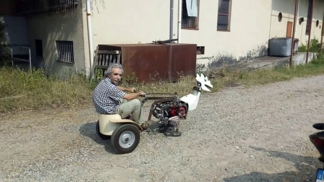 Yürüyen motosiklet motorlu tuhaf araç!